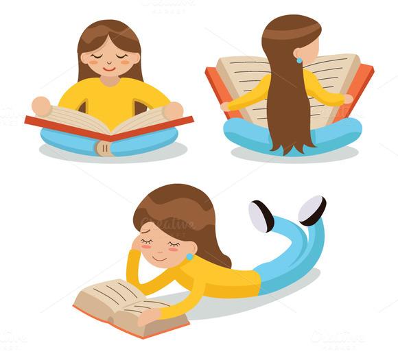 Cartoon Characters Reading : Cartoon characters reading designtube creative design