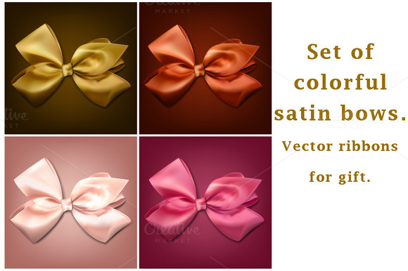 Colorful Satin Bows For Gift