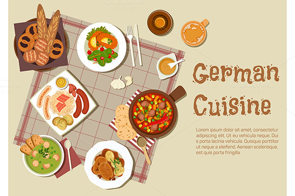 Stock graphic authentic german cuisine dishes for Authentic german cuisine