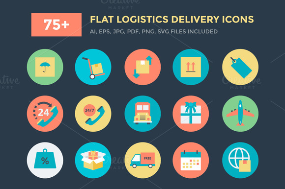 75 Flat Logistics Delivery Icons