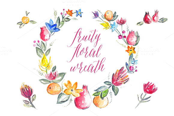 Fruity Floral Watercolour Wreath