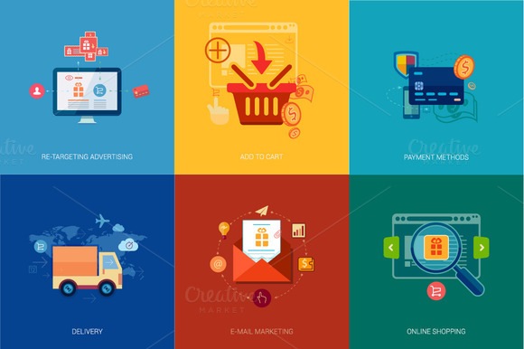 Flat Icon Icons For E-mail Marketing