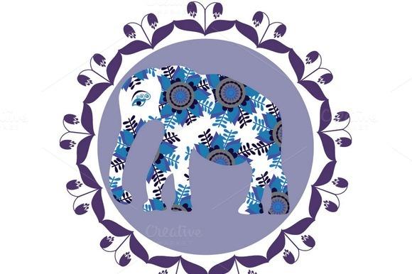 Cartoon Bright Elephant Vector