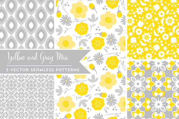 Vector Yellow And Gray Patterns