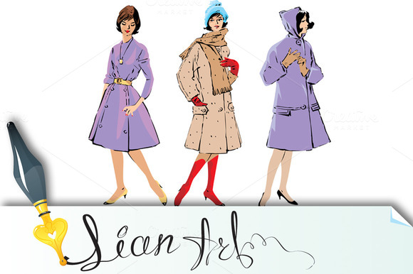 Set Of Elegant Women Retro Style