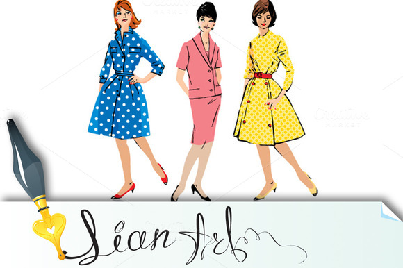 Set Of Elegant Women Retro Style