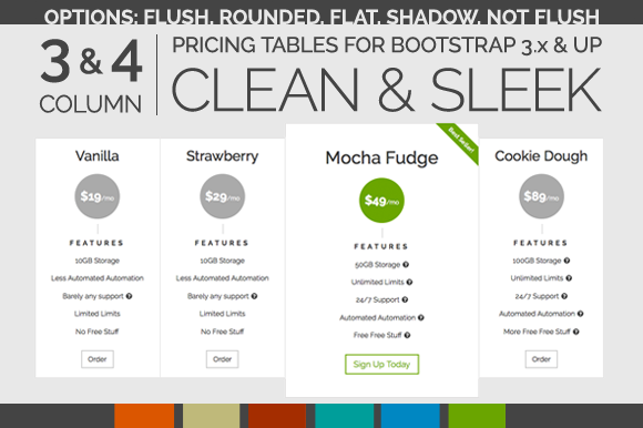 Clean Sleek Pricing Tables