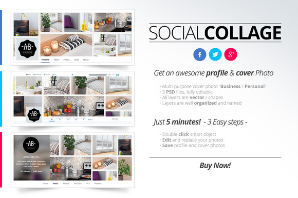 Social Collage Profile Cover