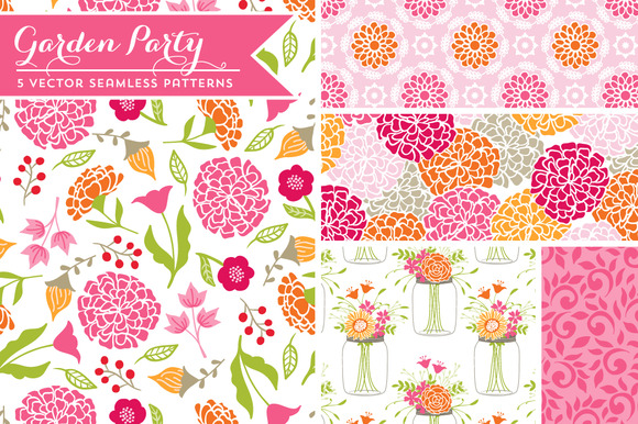 Vector Garden Party Patterns