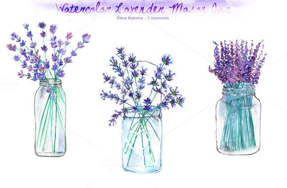 Watercolor Lavender Mason Jar