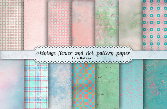 Vintage Flower And Dot Paper