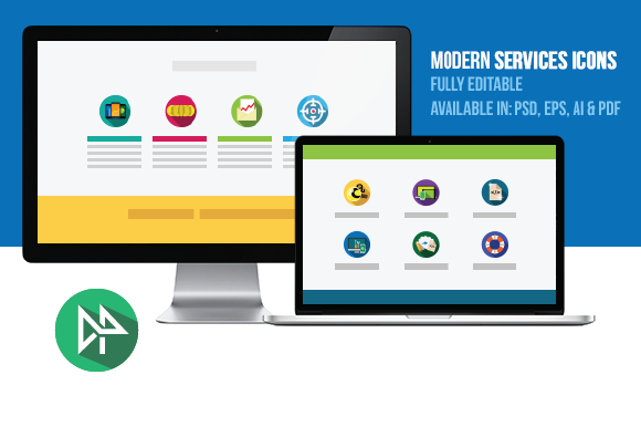 Modern IT Services Flat Icons