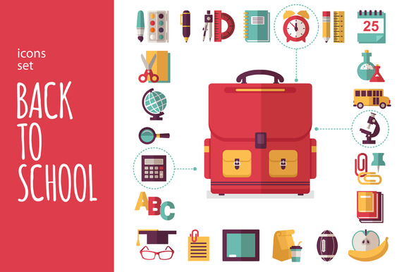 Icons Set Back To School