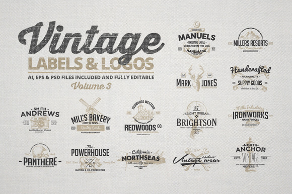 Vintage Labels Logos Vol.3