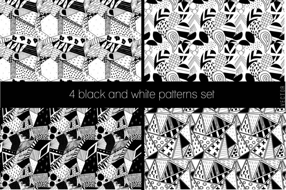 4 Black And White Patterns Set