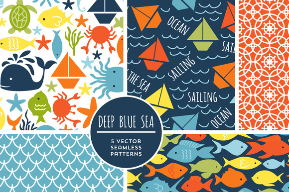 Vector Deep Blue Sea Backgrounds