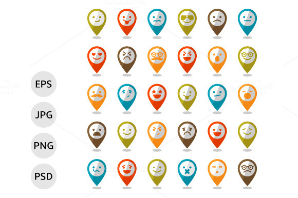 Set Of Smiley Icons Mapping Pins