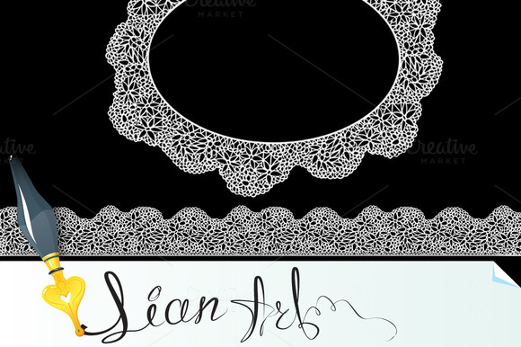 Lace Oval Frame And Seamless Stripe
