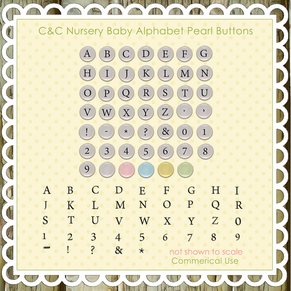 Nursery Baby Alphabet Pearl Buttons