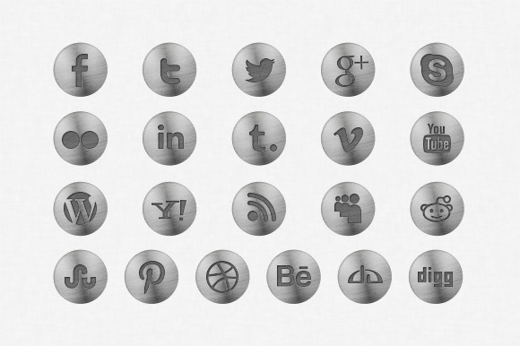 Metallic Social Media Icons