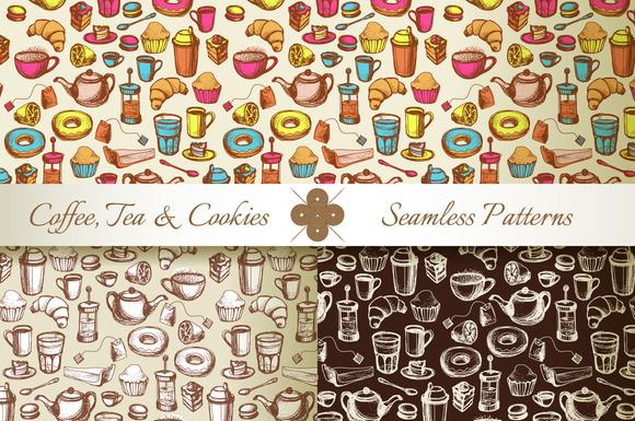 Seamless Pattern With Coffee And Tea