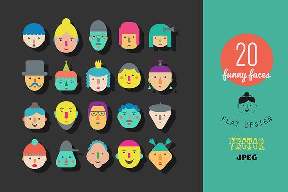 20 Faces Flat Gesign