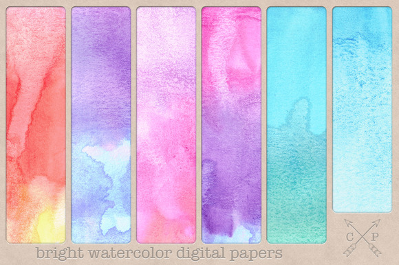 Bright Watercolor Digital Papers
