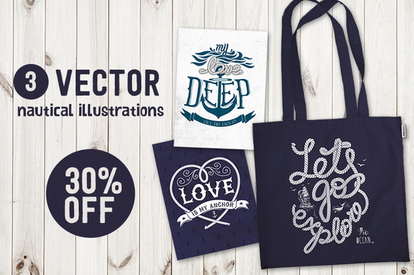 Set Of Nautical Vector Illustrations