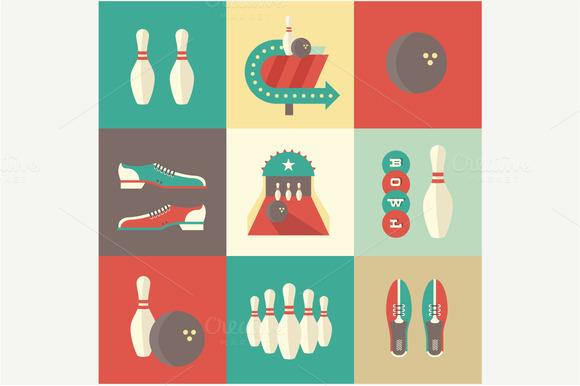Flat Bowling Icons