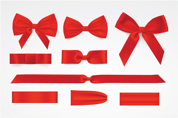 Vector Red Bows