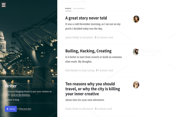 Writer Minimal Design Theme
