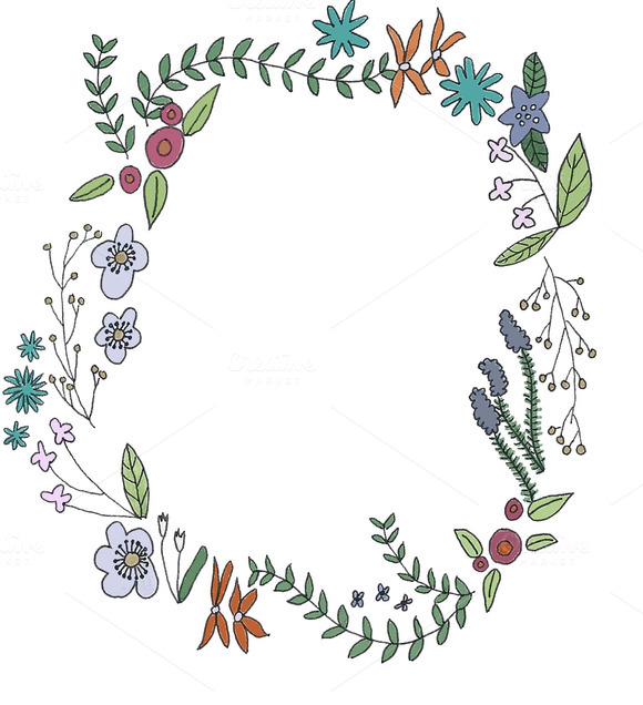 Hand Drawn Flower Border