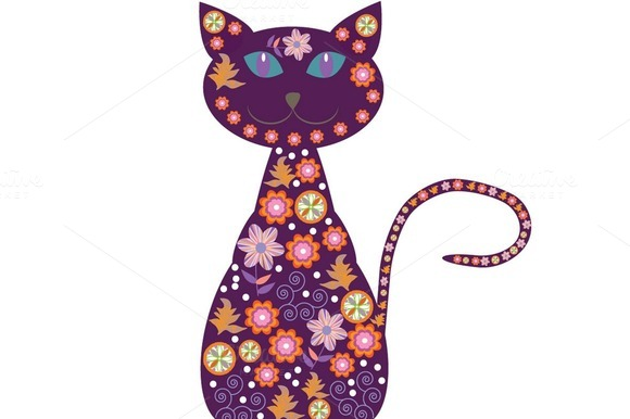Five Cartoons Cats With Flowers