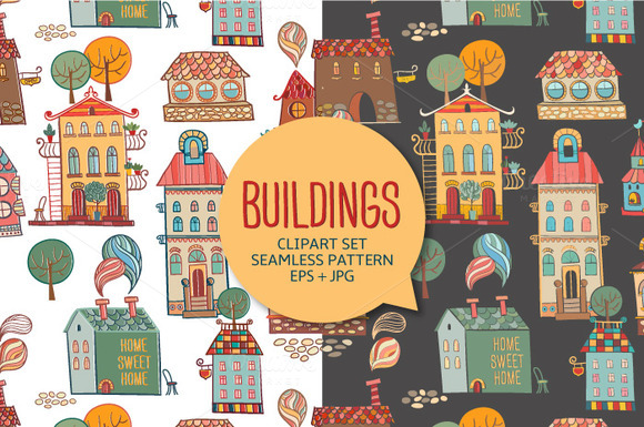 Buildings Hand Drawn Vector