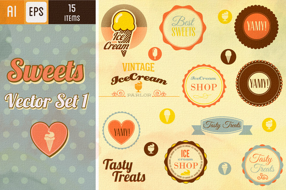 Ice Cream Badges Vector Set 1