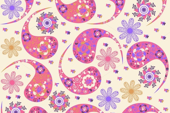 3 Paisley Seamless Patterns