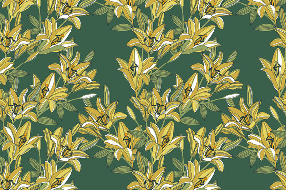 Vector Seamless Lily Flowers Pattern