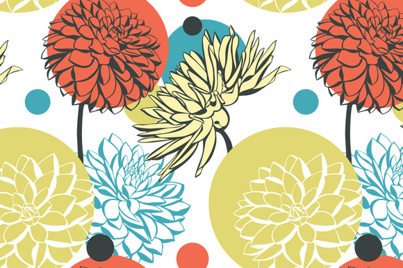 Abstract Pattern With Dahlia Flowers