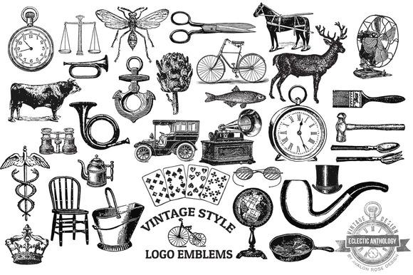 Vintage Style Vector Logo Emblems