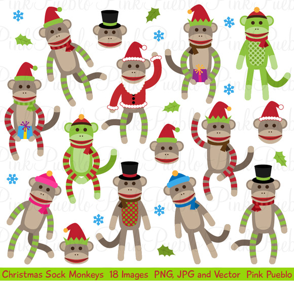 Christmas Sock Monkey Clipart Vector