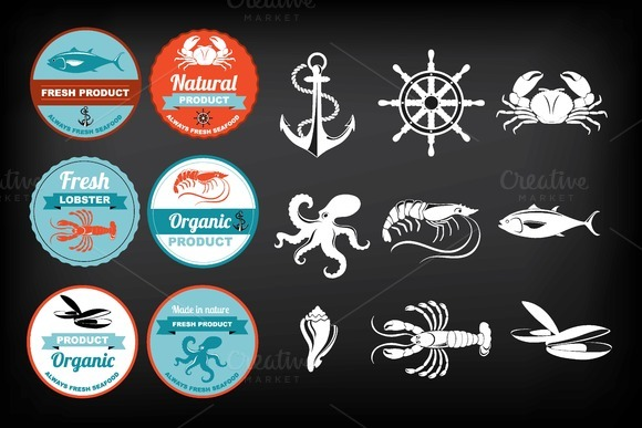 Seafood Icons Labels