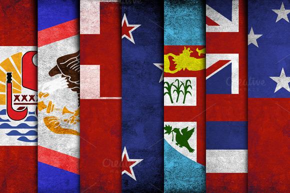 Polynesian Grunge Flags