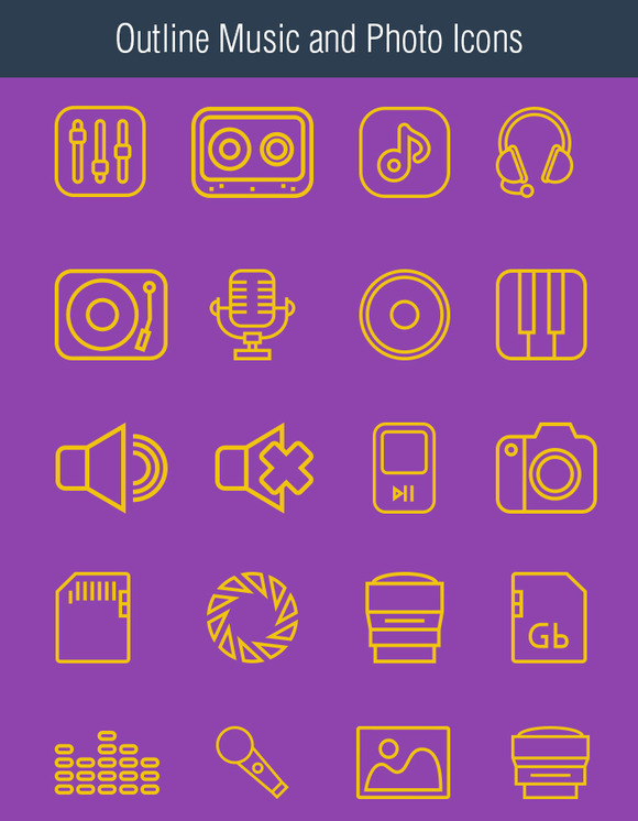 Outline Music And Photo Icons