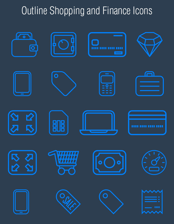 Outline Finance And Shopping Icons