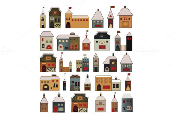 Vector Set Of Houses In The Old Styl