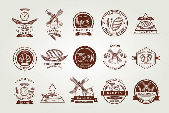 Bakery Icons Badges