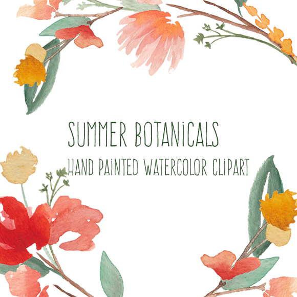 Summer Botanicals Watercolor Flowers