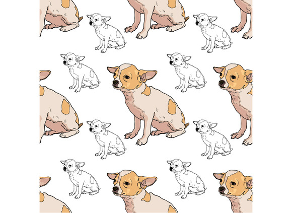 Seamless Pattern Of Adorable Chihuah