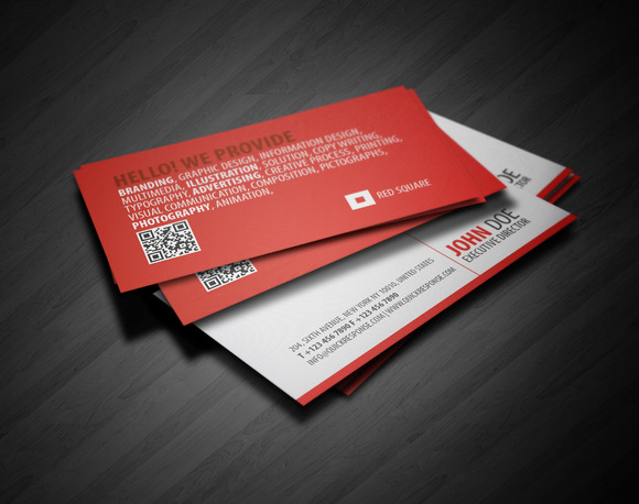Red Square QR Business Card
