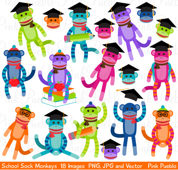 School Sock Monkey Clipart Vectors